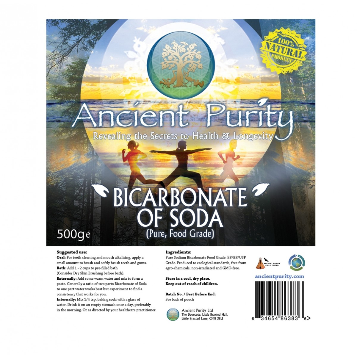 Bicarbonate of Soda - 500g (Pure Food-Grade) | Ancient Purity