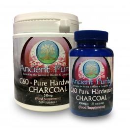 C60 Pure Hardwood Charcoal 125 - 500 Caps