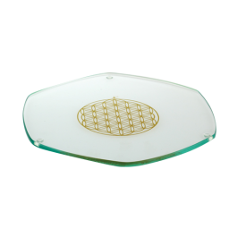 Glass Energy Plate - 24 Carat Gold Flower of Life