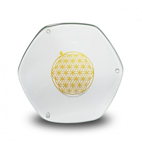Glass Energy Plate (24 Carat Gold) Flower of Life
