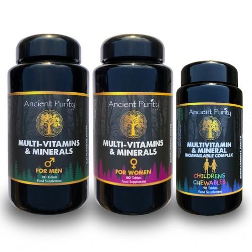 Family Health Pack (Multi-Vitamins & Minerals) Men, Women & Kids