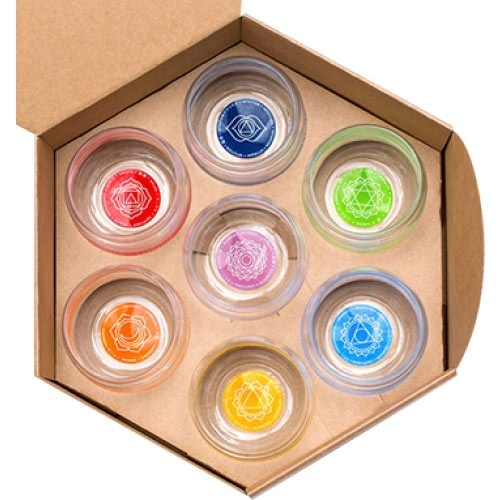 Chakra Affirmation Glasses / 7 Glass Set Presentation Box