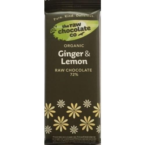 Ginger & Lemon Raw Chocolate 72% Bar - 44g (Organic)