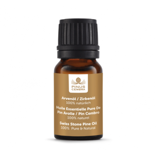 Swiss Stone Pine Essential Oil - 10ml (Box & Pine Shavings)