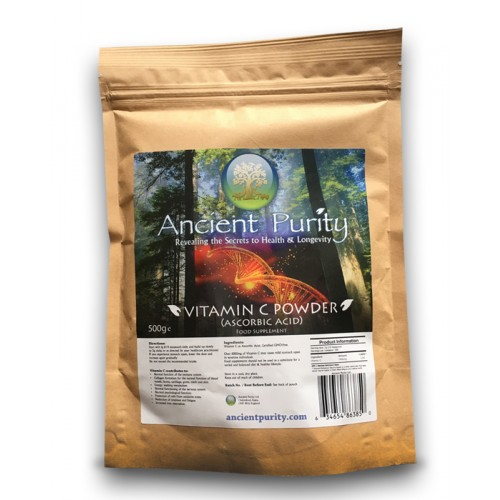 Vitamin C Powder, Ascorbic Acid - 500g (GMO-Free)