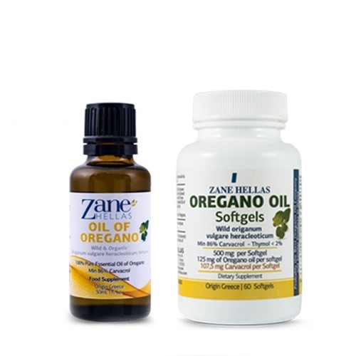 Oregano Essential Oil - Pure Greek Wild Organic - 30ml / 60 Softgels