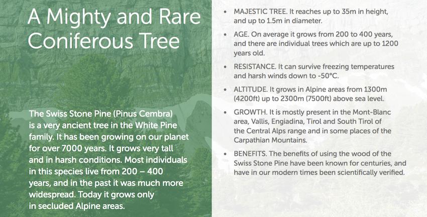 natures design swiss stone pine range