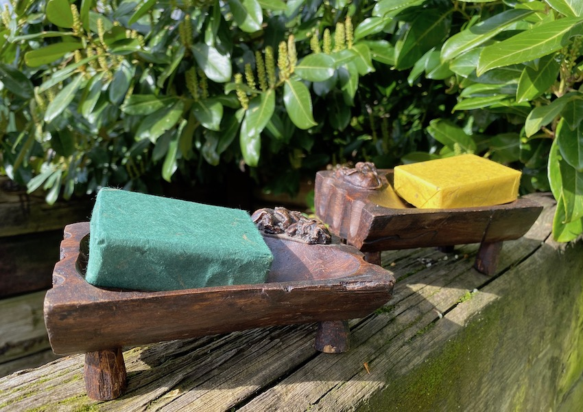 Thailand made teak soap dish ancient purity