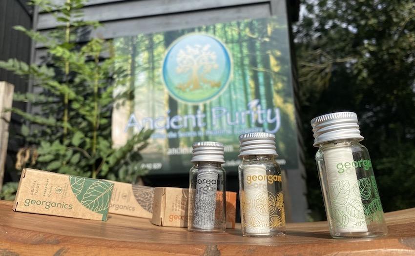 ancient purity organic dental floss in glass jar best UK dental floss