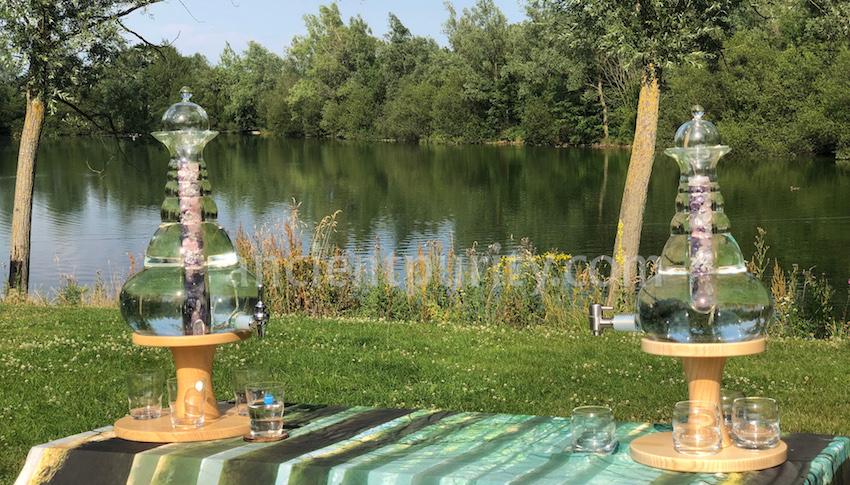 natures design large carafes spiritual water dispensers sacred geometry flower of life