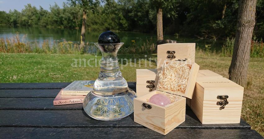 natures design gemstone carafe sacred geometry glassware